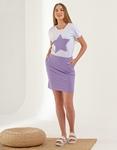 Εικόνα από Γυναικεία σετ φούστα & μπλουζάκι με αστέρι Μωβ