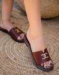 Εικόνα από Γυναικεία σανδάλια από γνήσιο δέρμα flat Μπορντώ
