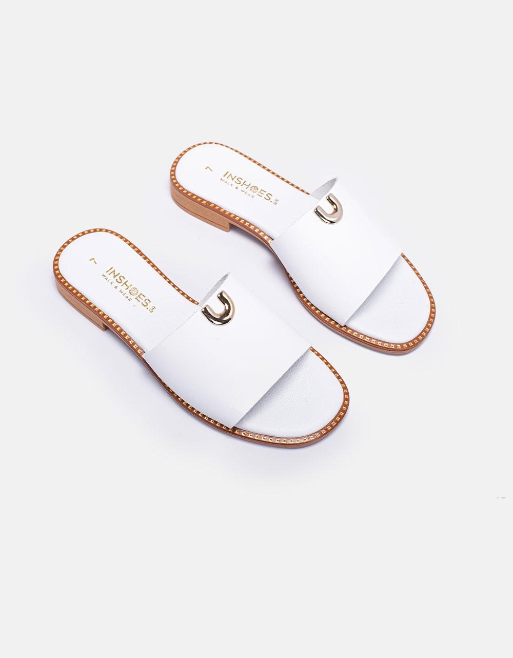 Εικόνα από Γυναικεία σανδάλια από γνήσιο δέρμα με φαρδιά φάσα Λευκό