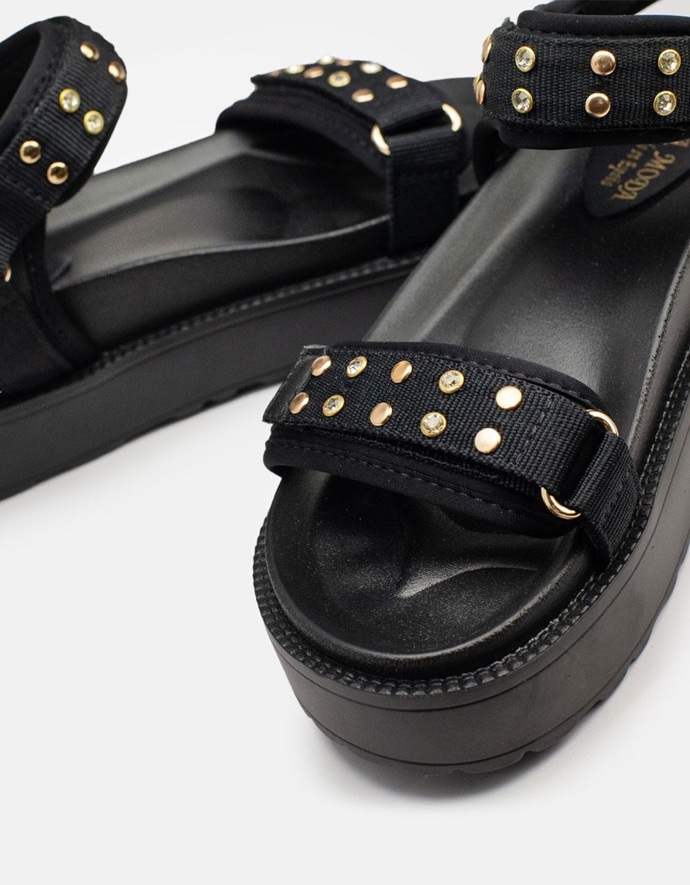 Εικόνα από Γυναικεία σανδάλια με διακοσμητικά τρουκς Μαύρο