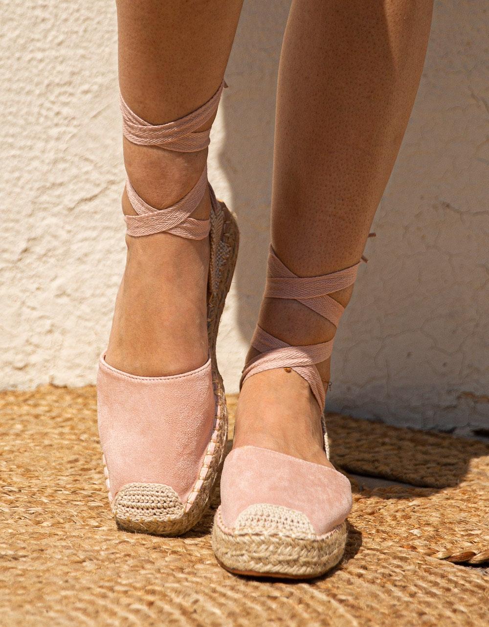 Εικόνα από Γυναικείες εσπαντρίγιες suede lace up Ροζ
