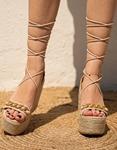 Εικόνα από Γυναικείες suede εσπαντρίγιες lace up Nude