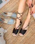 Εικόνα από Γυναικείες εσπαντρίγιες lace up Μαύρο