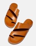 Εικόνα από Γυναικεία σανδάλια από γνήσιο δέρμα με λοξές φάσες Ταμπά