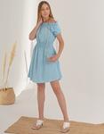 Εικόνα από Γυναικείο φόρεμα με ακάλυπτους ώμους Σιέλ