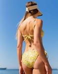 Εικόνα από Γυναικείο μαγιό σετ μπικίνι lurex με κορδονάκια Κίτρινο
