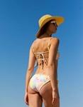 Εικόνα από Γυναικείο μαγιό σετ μπικίνι tie dye με frilled λεπτομέρεια Κίτρινο