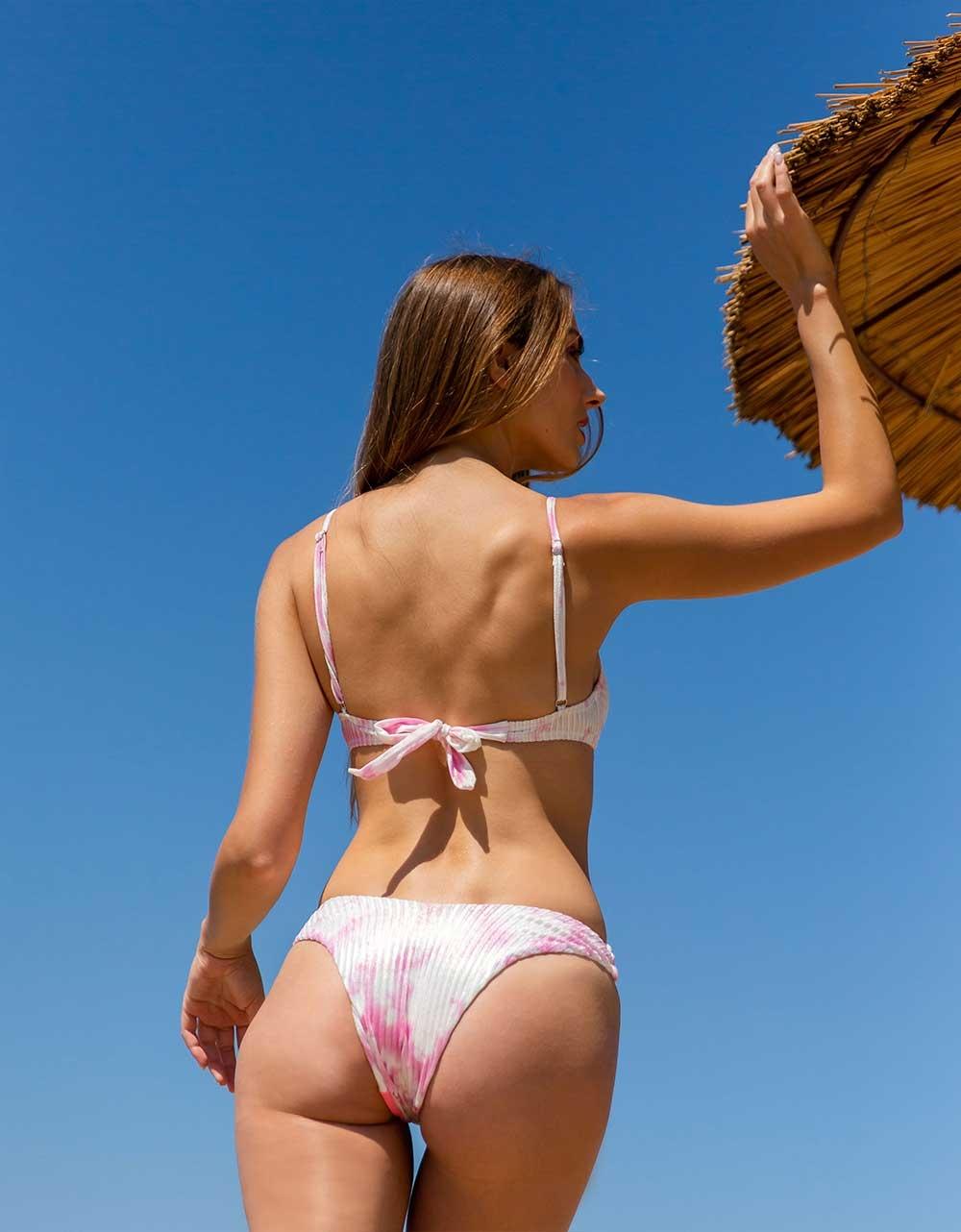 Εικόνα από Γυναικείο rip μαγιό σετ μπικίνι με tie dye σχέδιο Ροζ