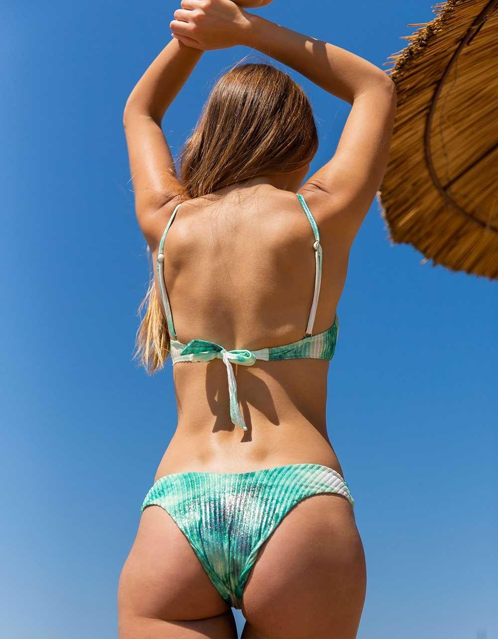 Εικόνα από Γυναικείο rip μαγιό σετ μπικίνι με tie dye σχέδιο Πράσινο