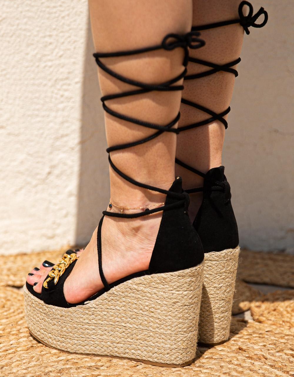 Εικόνα από Γυναικείες suede εσπαντρίγιες lace up Μαύρο