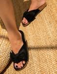Εικόνα από Γυναικεία σανδάλια suede με φιόγκο Μαύρο