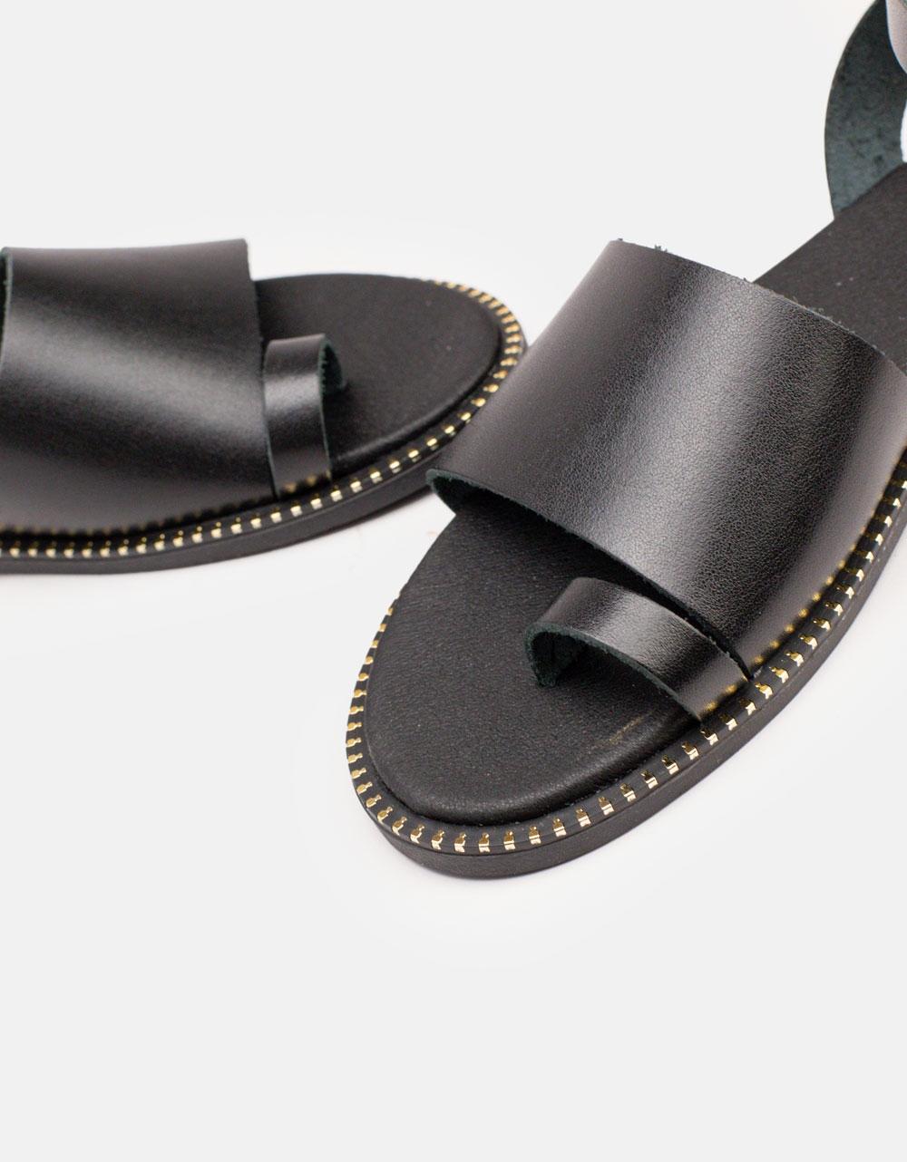 Εικόνα από Γυναικεία σανδάλια από γνήσιο δέρμα με φαρδιά φάσα Μαύρο