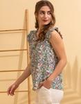 Εικόνα από Γυναικεία μπλούζα με floral σχέδιο Βεραμάν