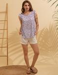 Εικόνα από Γυναικεία μπλούζα με floral σχέδιο Σιέλ