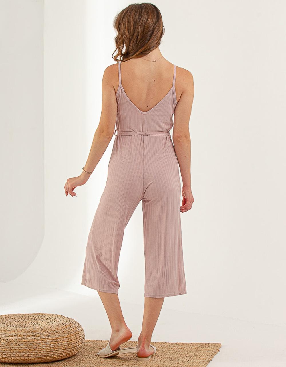 Εικόνα από Γυναικεία ριπ ολόσωμη φόρμα ζιπ κιλότ Ροζ