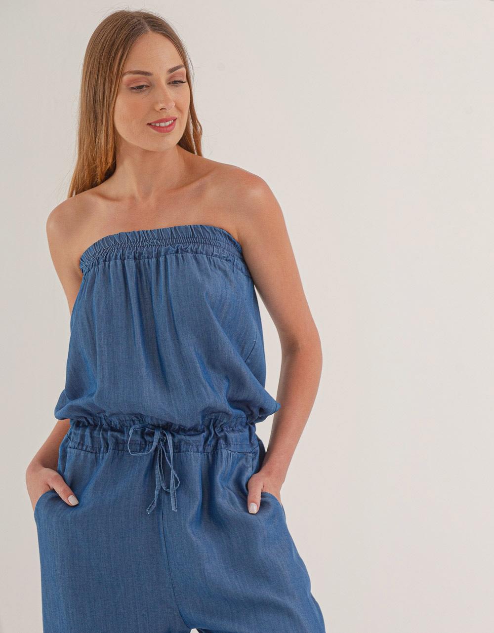Εικόνα από Γυναικεία ολόσωμη φόρμα strapless Τζιν