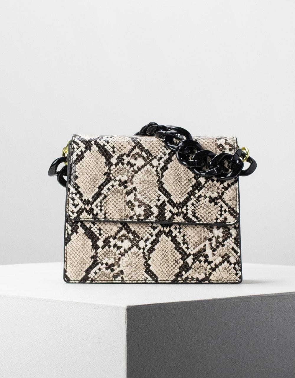 Εικόνα από Γυναικεία τσάντα ώμου & χιαστί με αλυσίδα Μπεζ
