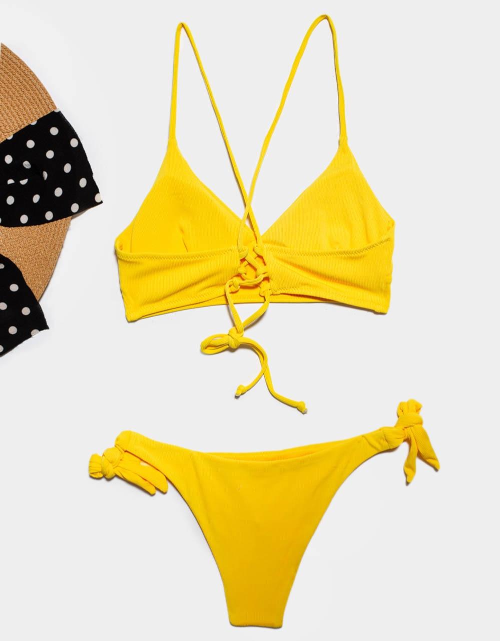 Εικόνα από Γυναικεία μαγιό σετ μπικίνι με χιαστί δέσιμο Κίτρινο