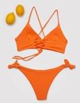 Εικόνα από Γυναικεία μαγιό σετ μπικίνι με χιαστί δέσιμο Πορτοκαλί