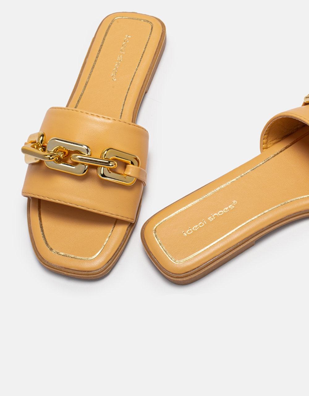 Εικόνα από Γυναικεία σανδάλια σανδάλια με oversized αλυσίδα Κάμελ