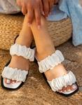 Εικόνα από Γυναικεία σανδάλια με σούρες Λευκό