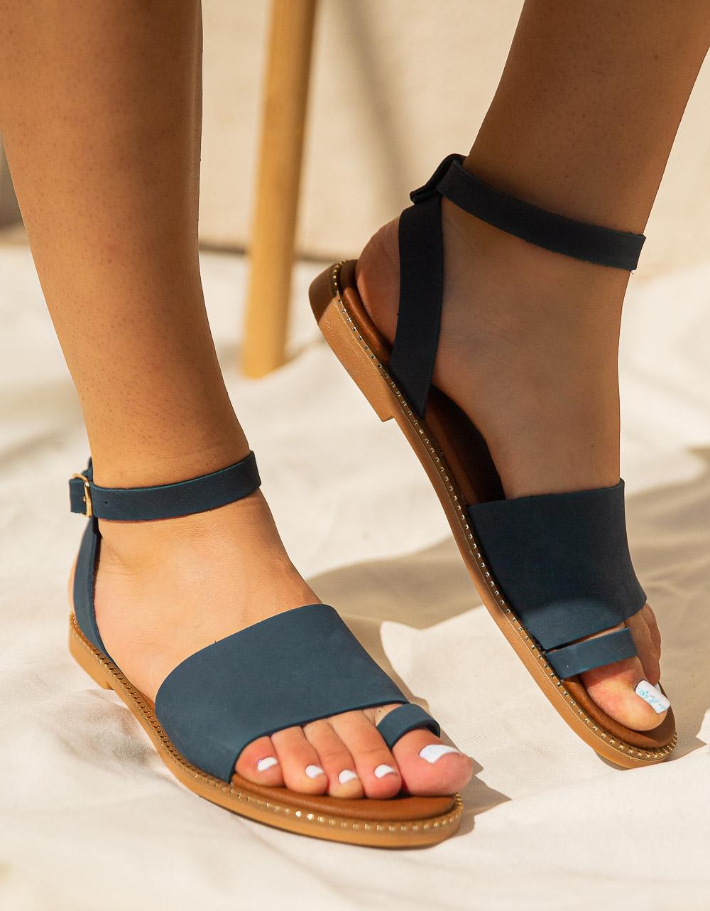 Εικόνα από Γυναικεία σανδάλια από γνήσιο δέρμα με φαρδιά φάσα Μπλε