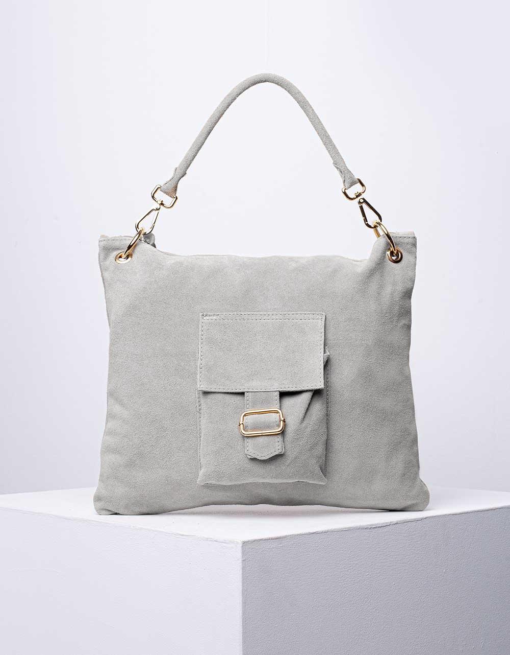 Εικόνα από Γυναικεία τσάντα χειρός από γνήσιο δέρμα με εξωτερικό τσεπάκι Γκρι