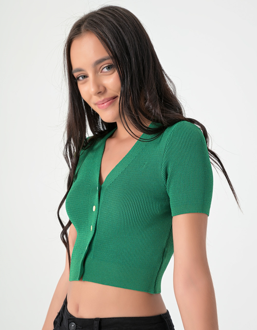 Εικόνα από Γυναικείο κροπ ζακετάκι με κουμπιά Πράσινο