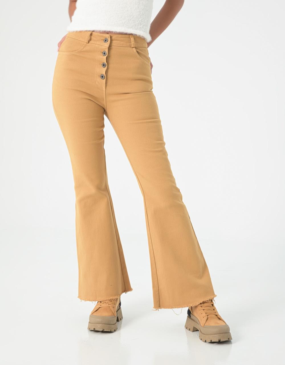 Εικόνα από Γυναικείo τζιν ψηλόμεσο με κουμπιά καμπάνα Κάμελ