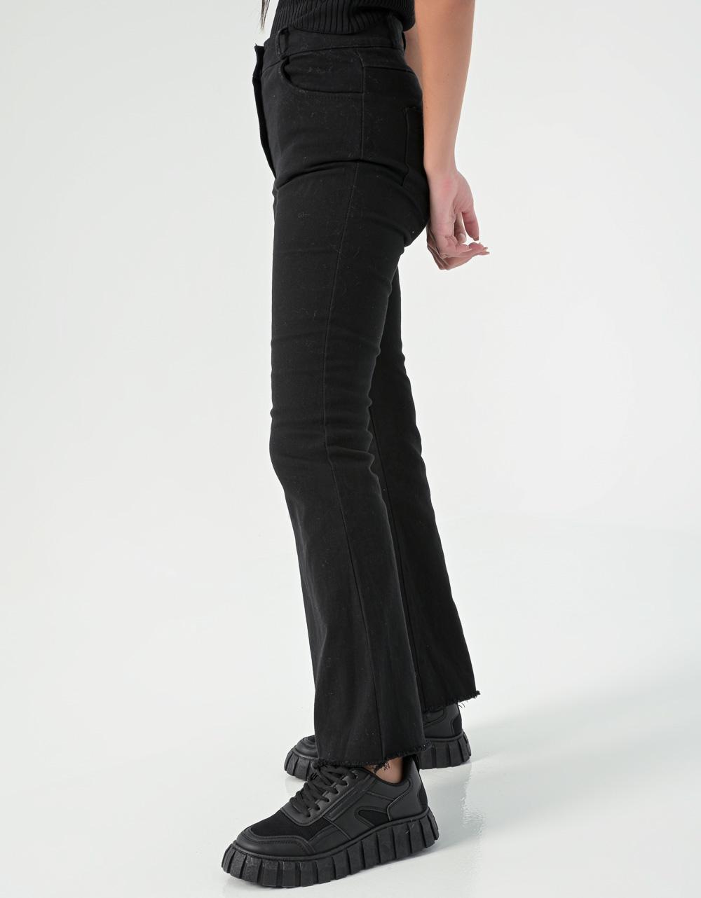 Εικόνα από Γυναικείo τζιν ψηλόμεσο με κουμπιά καμπάνα Μαύρο