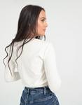 Εικόνα από Γυναικεία μπλούζα μακρυμάνικη σε απλή γραμμή Λευκό