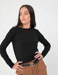 Εικόνα από Γυναικεία μπλούζα μακρυμάνικη σε απλή γραμμή Μαύρο