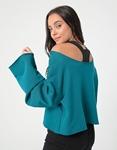 Εικόνα από Γυναικεία μπλούζα φούτερ σε φαρδιά γραμμή Πράσινο