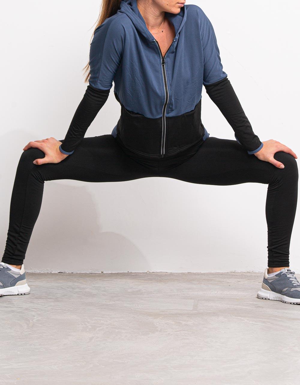 Εικόνα από Γυναικείo σετ ρούχων κολάν και ζακέτα με κουκούλα Μπλε
