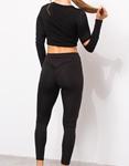 Εικόνα από Γυναικείο σετ κολάν με crop top Μαύρο