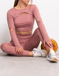 Εικόνα από Γυναικείο σετ κολάν με crop top Ροζ