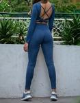 Εικόνα από Γυναικείo σετ κολάν και crop top με δέσιμο στην πλάτη Μπλε