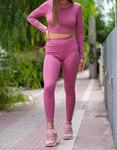 Εικόνα από Γυναικείo σετ κολάν και crop top με δέσιμο στην πλάτη Ροζ