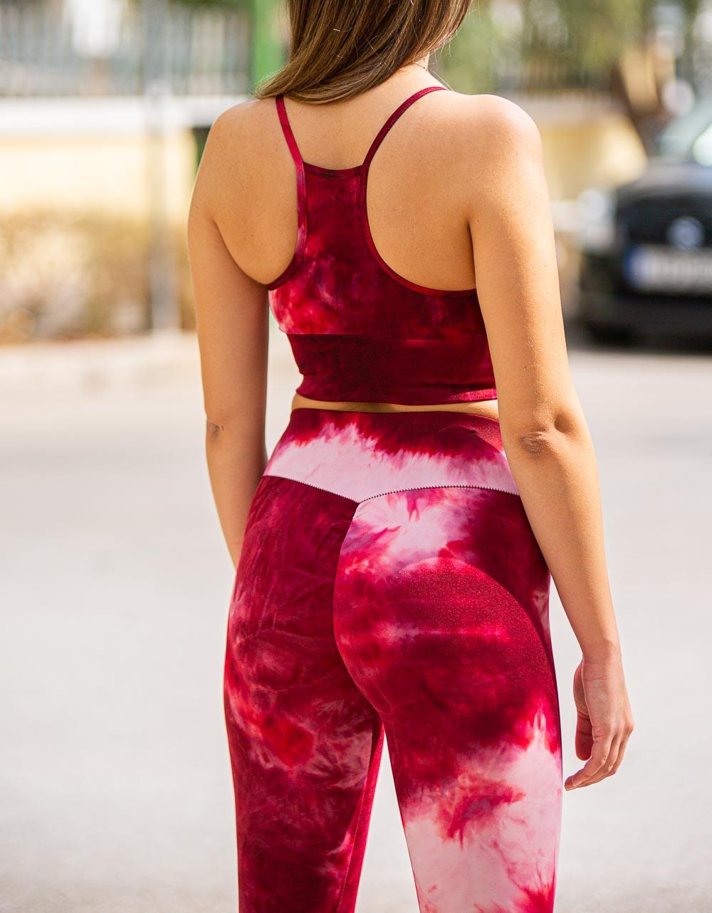 Εικόνα από Γυναικείo αθλητικό σετ tie dye Κόκκινο