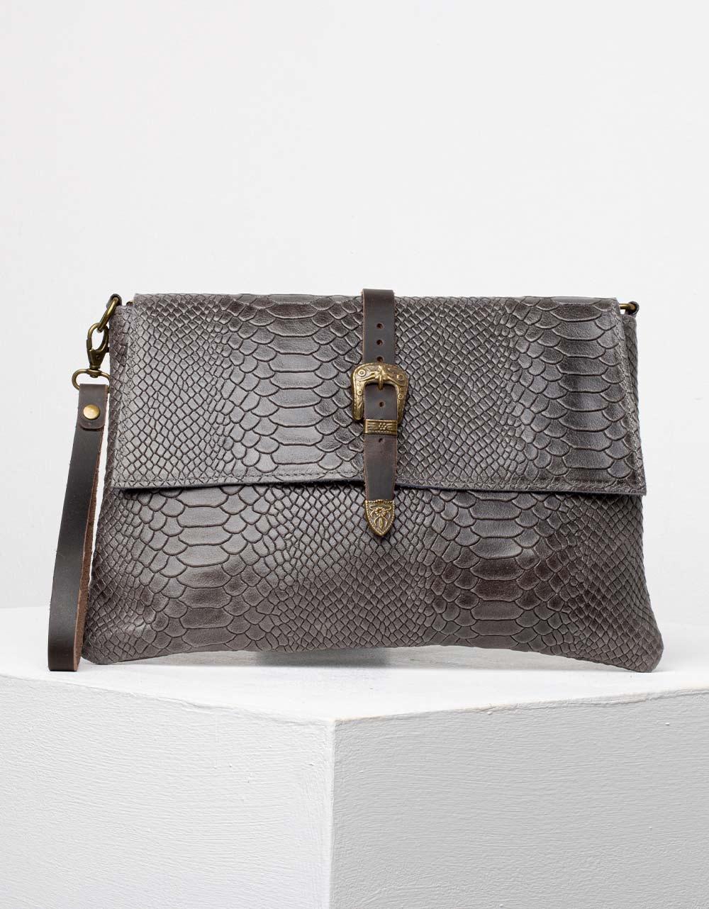 Εικόνα από Γυναικεία τσάντα φάκελος από γνήσιο δέρμα Γκρι