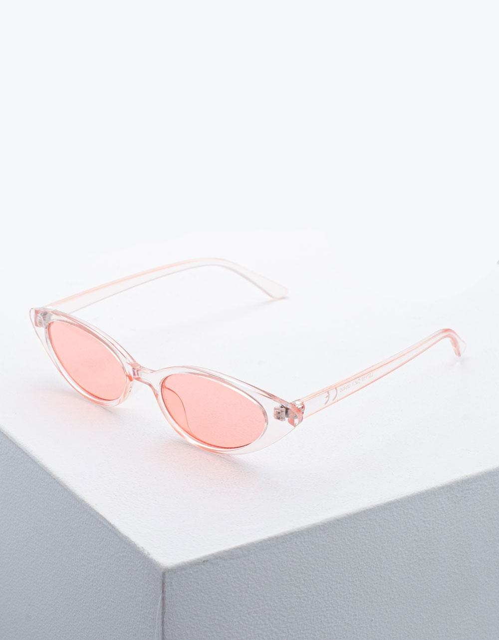 Εικόνα από Γυναικεία γυαλιά ηλίου με χρώμα στο φακό Ροζ
