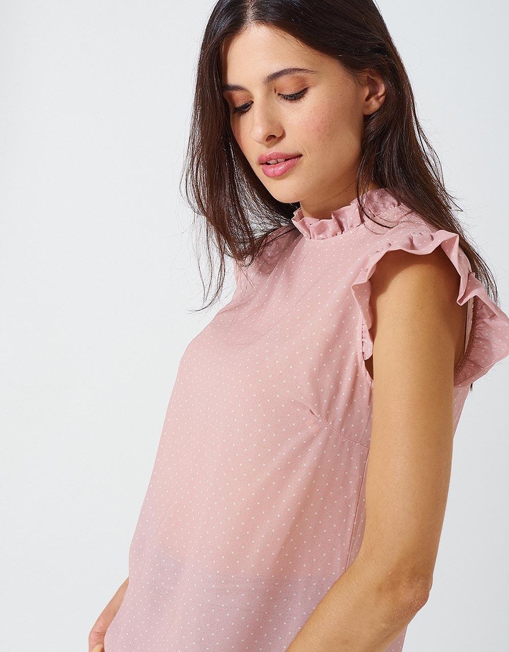 Εικόνα από Γυναικεία μπλούζα με βολάν στα μανίκια Μπεζ