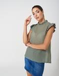 Εικόνα από Γυναικεία μπλούζα με βολάν στα μανίκια Πράσινο