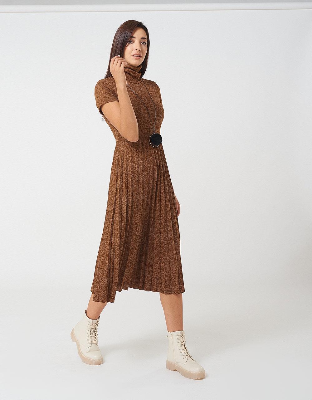 Εικόνα από Γυναικεία φόρεμα ζιβάγκο με κολιέ Καφέ