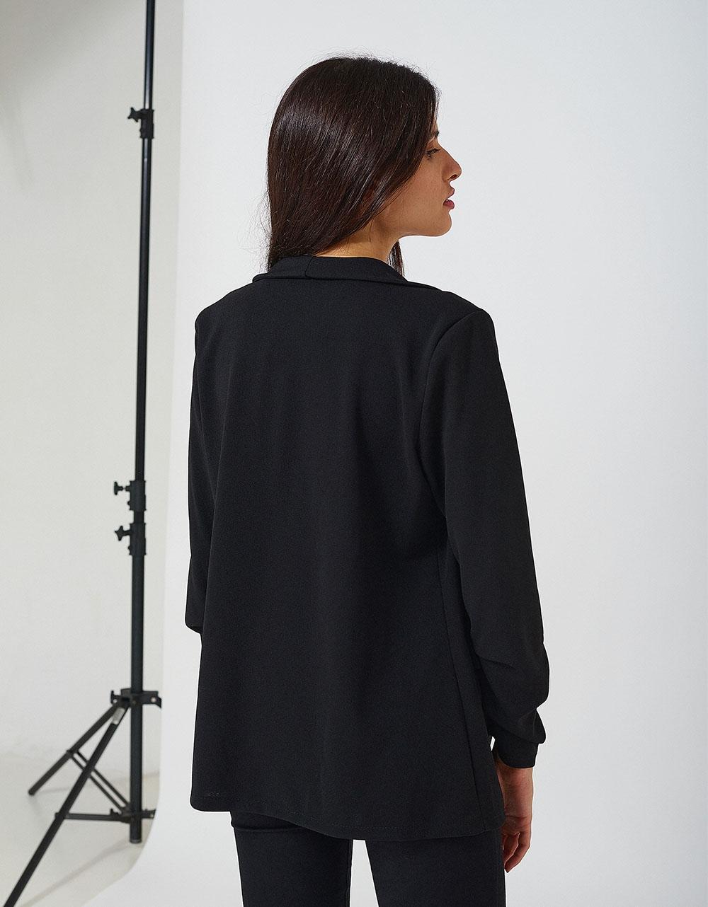 Εικόνα από Γυναικείο blazer με τσέπες Μαύρο