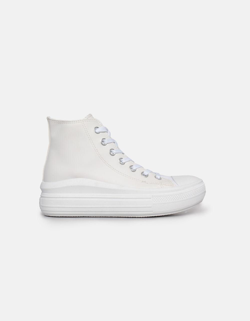 Εικόνα από Γυναικεία sneakers μποτάκια με διπλή σόλα Λευκό