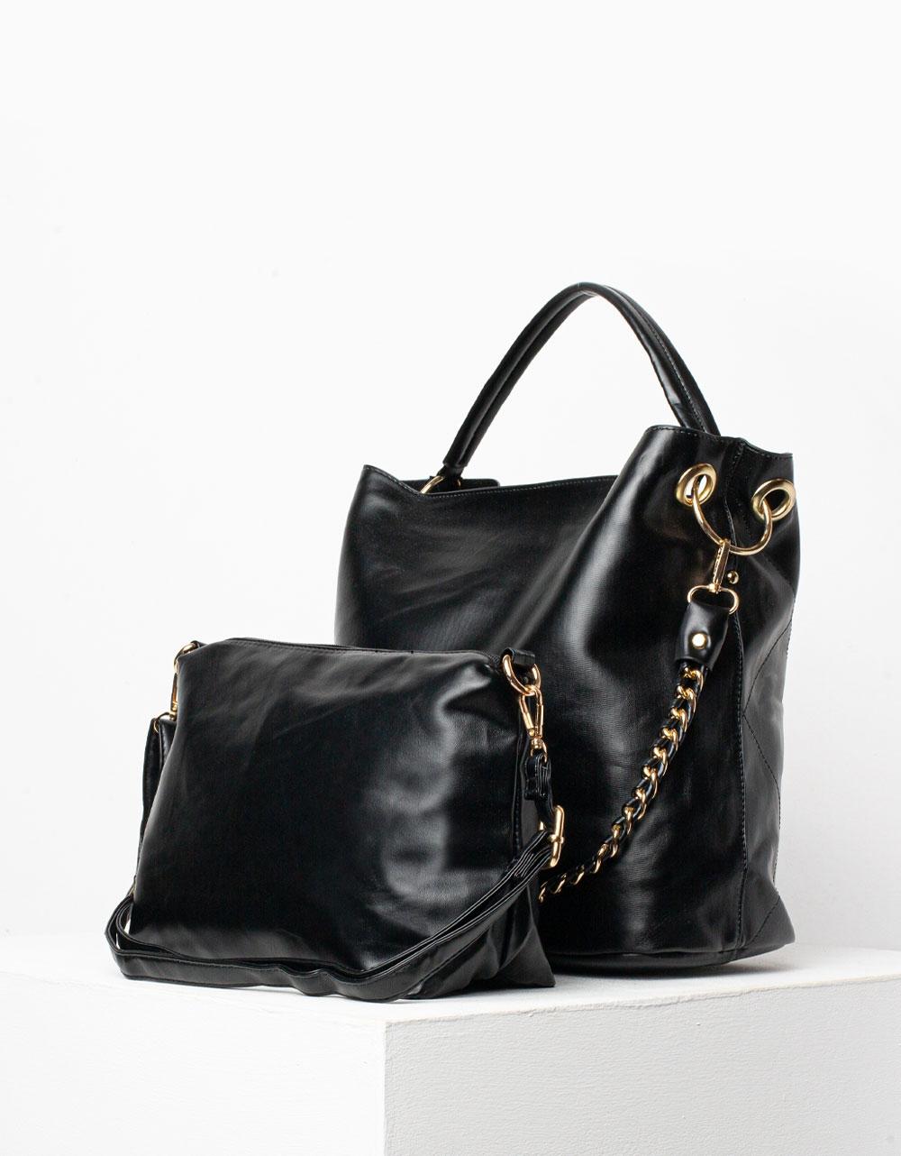 Εικόνα από Γυναικεία τσάντα με διακοσμητικές ραφές και τσαντάκι νεσεσέρ Μαύρο