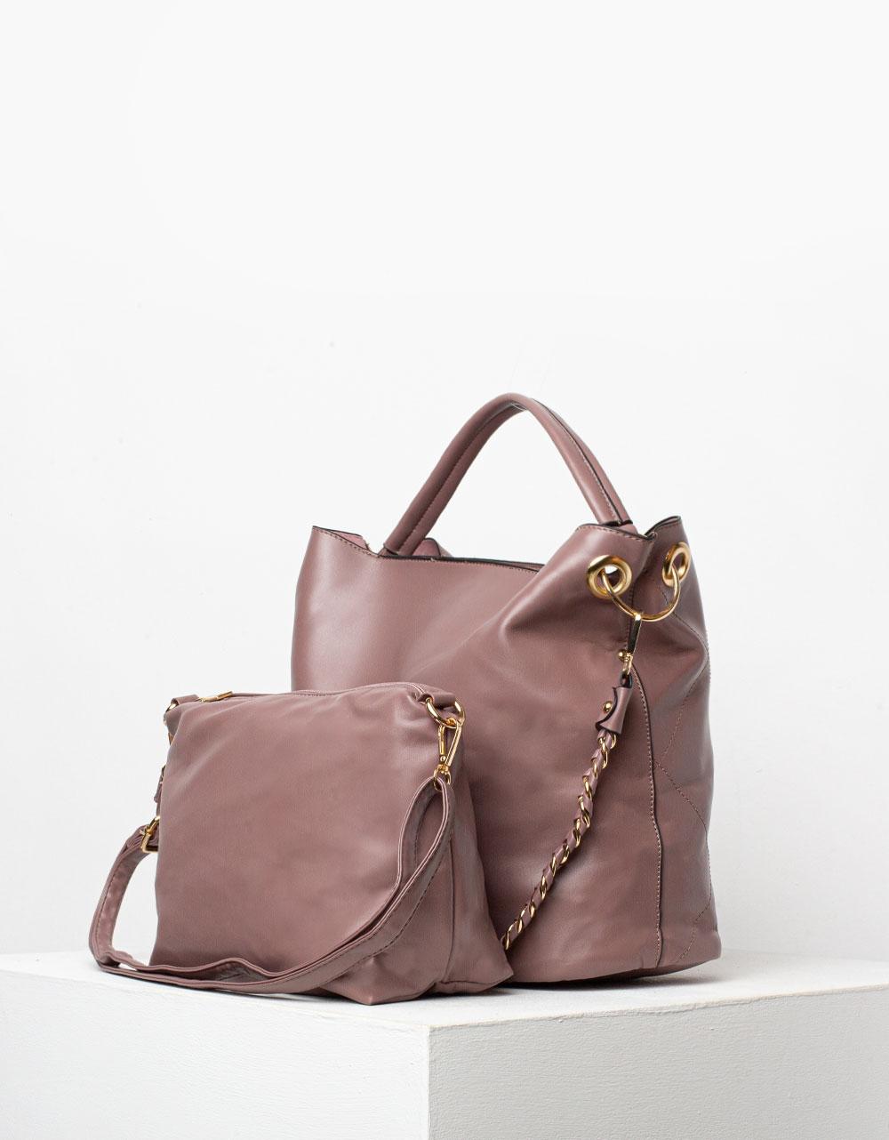 Εικόνα από Γυναικεία τσάντα με διακοσμητικές ραφές και τσαντάκι νεσεσέρ Ροζ