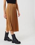 Εικόνα από Γυναικεία φούστα πλισέ midi Κάμελ