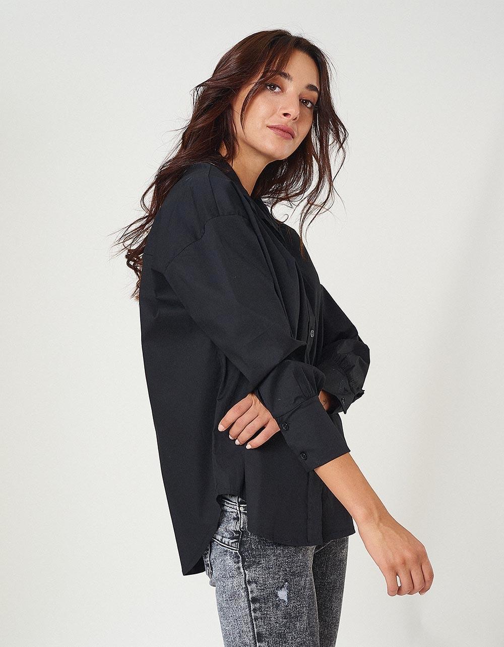 Εικόνα από Γυναικείo πουκάμισο basic με ανοίγματα Μαύρο